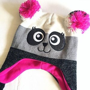 Panda Knit Critter Beanie Hat with Pompom One Size